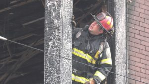 Allentown Firefighters overhauling